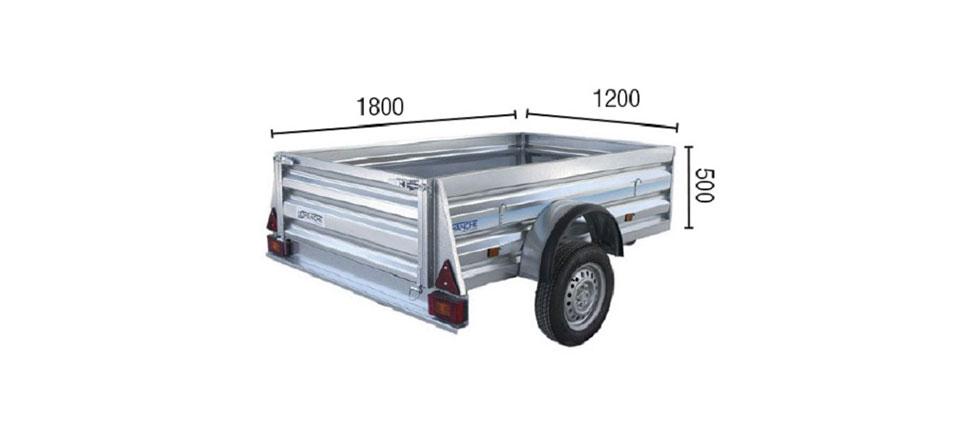 Remolque de carga Industrial 180 medidas