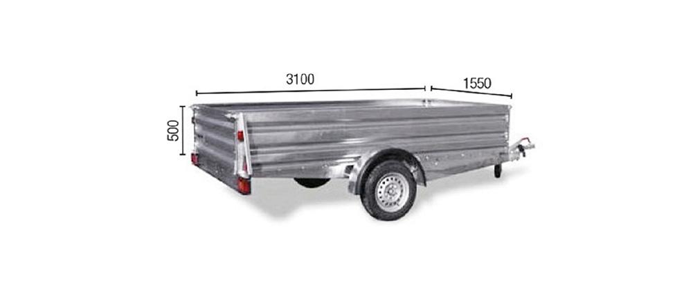 Remolque de carga Industrial 3100/F medidas